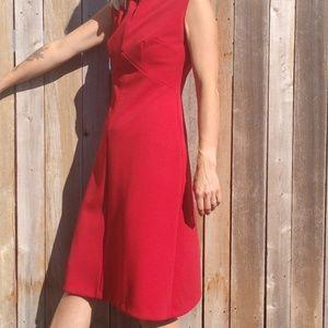 Vintage Lipstick Red Double Knit Shift Dress